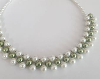 Bridal glass pearl beads necklace