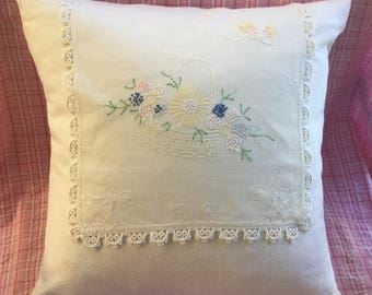 Sweet Vintage Hand Embroidered Doily Pillow