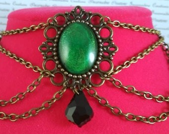 Handpainted green stone and bronze chain choker necklace gothic victorian