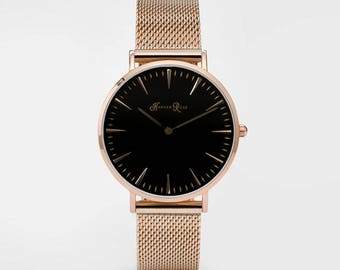 Ladies Watch, Women Leather bracelet, minimalist, gift for her, cheap leather watch, Christmas Watch, Rose Gold Mesh (Rose Gold/Black)