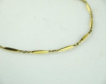 "Vintage 14k Yellow Gold Chain 15"" Cable Chain w/ Gold Bar Accent & Link 16g"