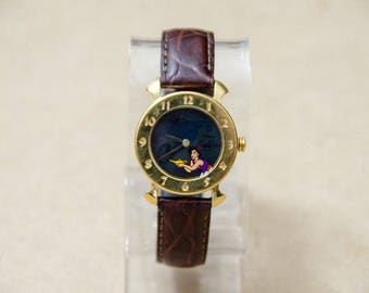 Super Rare Vintage Disney Aladdin Watch w/ Rub the Lamp Genie Watch