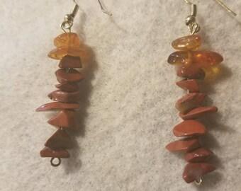 Deep Orange Stone Dangle Drop Earrings