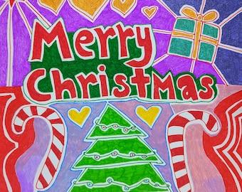 Hand drawn merry Christmas card