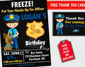 Police invitation + Thank you cards Officer party invitations 1st birthday party decorations Cops and robbers invites for boys with dog