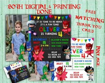PJ Masks Birthday Invitations PJ Masks Photo Birthday Party Pj Masks Kids Birthday Printable Invitations PJ Masks Printable  Birthday Card