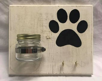 Paw Print Treat Holder, wall hanger, leash holder, dog, love, paw print, rustic beauty creations, paw, treats, handmade, ohio, hanging, new