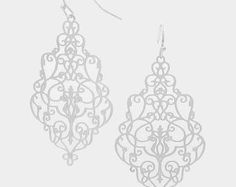 Silver Victorian Gothic Filigree Patterned Earrings