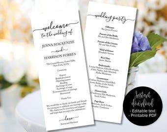 Wedding Program Template Printable, Wedding Day Ceremony Order of Service Program, Wedding Program Template Printable, Program PDF Template