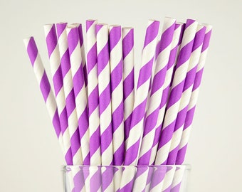Purple Striped Paper Straws - Mason Jar Straws - Party Decor Supply - Cake Pop Sticks - Party Favor