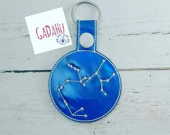 Sagittarius Constellation  Key Fob Snap Tab Embroidery Design 4X4 size Zodiac Symbol Snap tab.