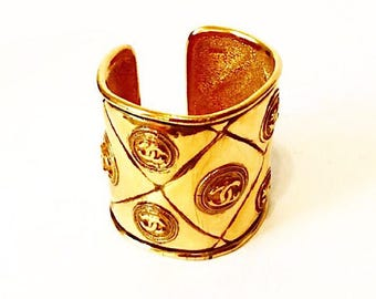 Authentic Vintage Chanel Gold Plated CC Cuff Bracelet
