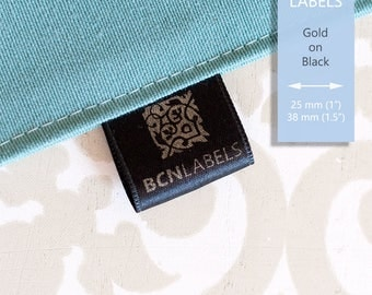 GOLD ON BLACK 25 pcs Custom Printed Soft Satin Clothing Labels 25 mm / Care Labels / Sew in Fabric Labels