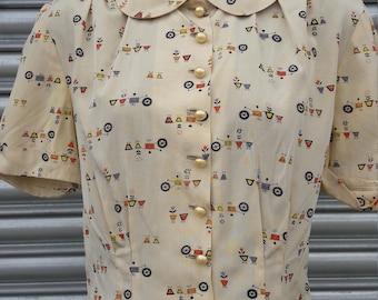1950s novelty print blouse