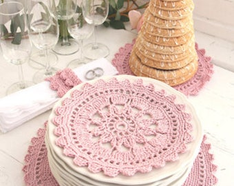 100% cotton crochet table complete with glitter