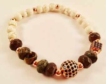 Howlite/Agate and Fireball Stone Bracelet