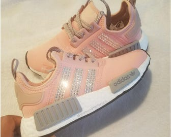 NEW CUSTOM Pink Adidas NMD with Swarovski Crystals