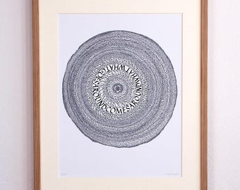 "Calligraphy ""What goes around comes around"" - art print 30 x 40 cm"