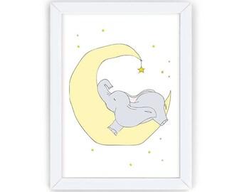 Elephant with Star, Nursery Animal Printable, Elephant Nursery Art, Elephant Nursery Decor, Kids Wall Art, Nursery Wall Decor