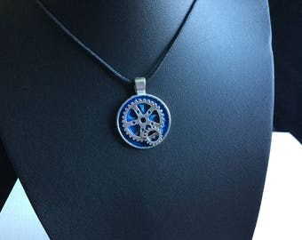 Blue and silver steampunk necklace