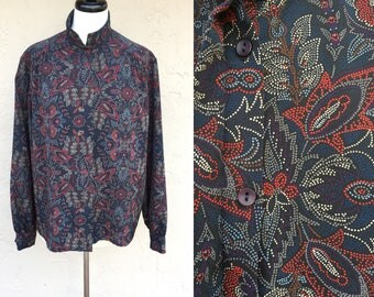 Vintage 80s Blouse/ Secretary Blouse/ Puffy Sleeves/ Silky/ Button Down Shirt/ Paisley Pattern/ Pendleton/ Country Sophisticates