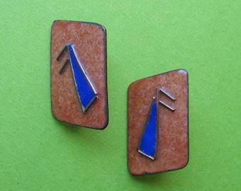 Mid Century Earrings Designer Signed - Copper and Enamel Screw Back Vintage