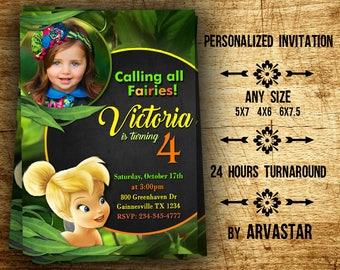 Tinkerbell Invitation, Tinkerbell Birthday Party,Tinkerbell Birthday Invitation, Disney Invitation, Fairy Birthday Invitation-Chalkboard