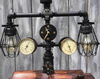 elegant steampunk style desk/table lamp with full dimmer,weather station, and clock