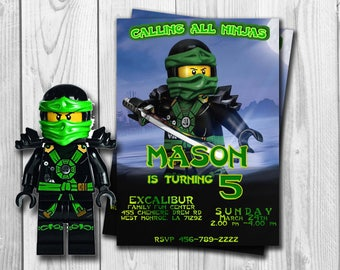 Ninjago Lego, Ninjago Invitation, Ninjago Birthday invitation , Ninjago Party, Ninjago LLoyd, Ninjago Printable, Lego , Green Ninja, Lloyd