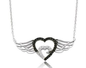 Silver Angel Winged Heart Necklace