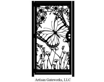 Floral Artistic Metal Gate - Butterfly Decorative Steel Gate - Flower Art Wall Panel - Driveway Gate - Outdoor Steel Art
