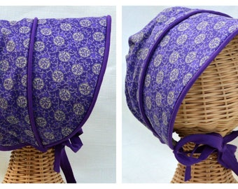 reversible summer baby toddler sun bonnet purple flowers and silver lining 1T/2T