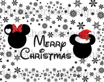 Mickey and Minnie Merry Christmas Snowflake Transfer , Digital Transfer , Digital iron Ons , DIY