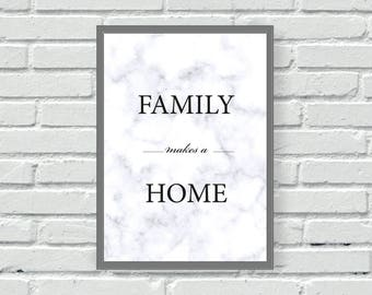 Marble Family makes a Home effect backed colour wall print, wall art, kitchen, living, home, wall decor, home decor, quote, typography,