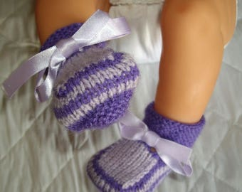 Purple slippers for baby or newborn reborn baby