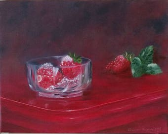 Strawberries.Oil on canvas. 10.5 x 13.5 in (27 x 35 cm)