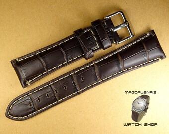 Dark Brown 22 mm Leather White Thread Watch Band, 22mm Genuine Leather Wrist Watch Band, Leather Watch Straps, White Thread Brown Watchband