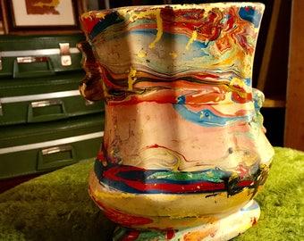Uniquely Painted Vintage Pottery Vase