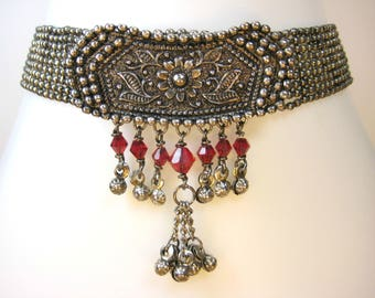 Antique Ethnic Silver Effect Gun Metal Choker Collar Necklace with Ruby Red Swarovski Crystal