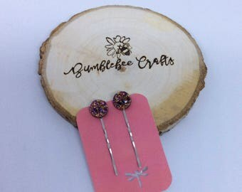 Pink or Blue Druzy Sparkly Hair pin set - set of 2