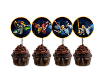 INSTANT DOWNLOAD - Lego Nexo Knights Cupcake Toppers, Lego Nexo Knights Cupcake, Lego Nexo Knights Birthday, Lego Nexo Knights Party