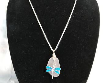 White Beach Glass w/ Dragonfly