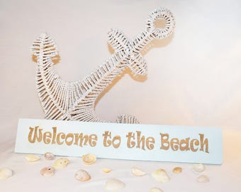 Engraved Welcome to the Beach Sign | Sign | Gift | 20x5 | Beach House | Vacation | Pallet Wood | Laser | Engraved |