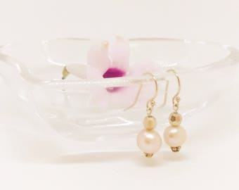 Pink pearl earrings, Fresh Water Pearl earrings, Pearl earrings, Rose gold dangle earrings, Drop earrings, Pearl drop earrings, Earrings