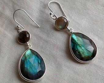 Faceted blue flash Labradorite earrings