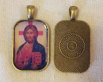 Christ the Teacher Rectangle Pendant