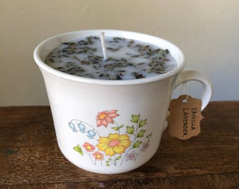 Vanilla Lavender Soy Candle / VINTAGE Corelle Spring Meadow Coffee / Tea Cup / Mug