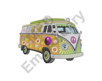 Bus - Machine Embroidery Design, Hippie Peace Bus