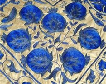 Amazing Uzbek Silk Hand-Embroidery Suzani Frosty Morning 619