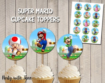 Super Mario Cupcake Toppers, Party Decor, Decoration, Supplies, Birthday, Kids, Video Game, Printable, Instant Download